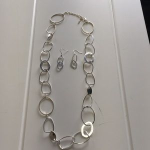 "Jewelry - Sterling Silver 30"" Necklace and Matching Earrings"